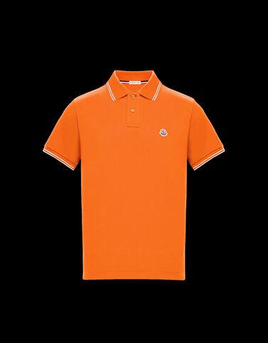 Moncler 화이트 핀스트라이프 폴로 셔츠 브라이트 오렌지
