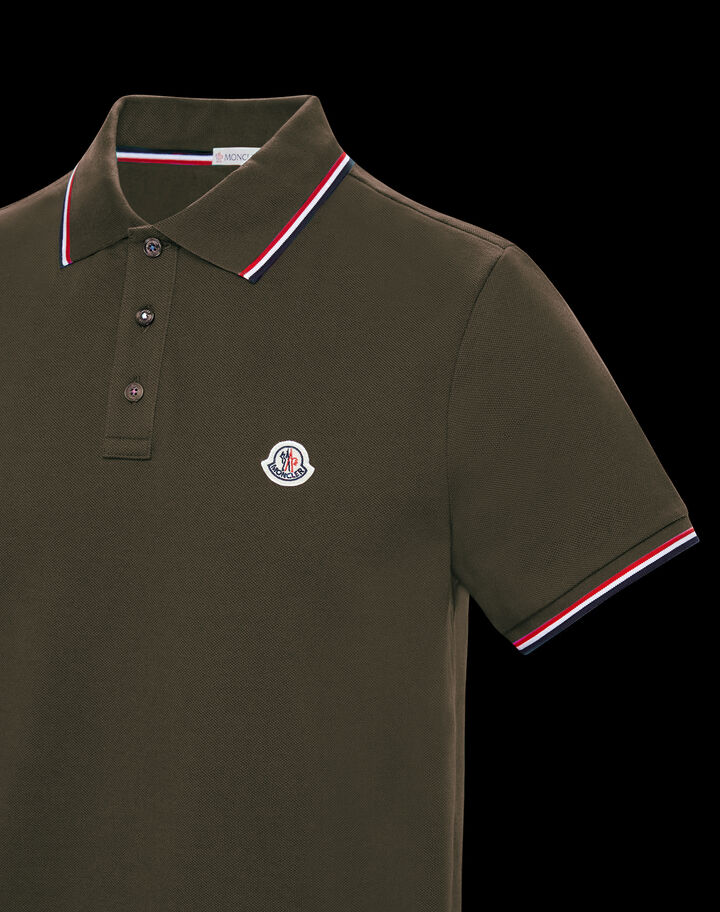 Moncler Polo with tricolor trim Dark Army Green