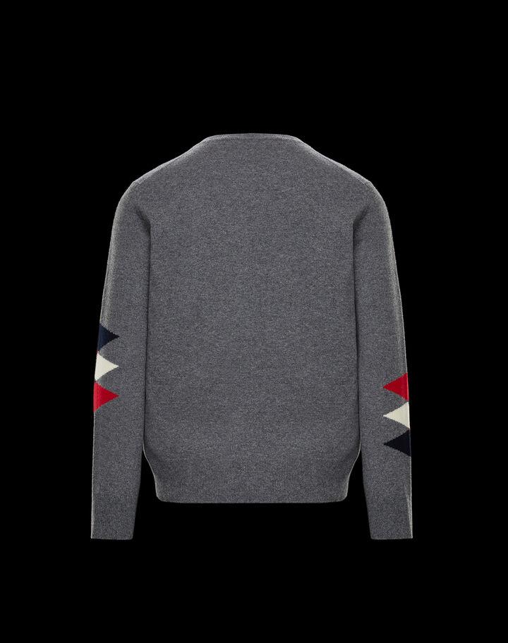 Moncler Wool cashmere crewneck sweater Melange Light Gray