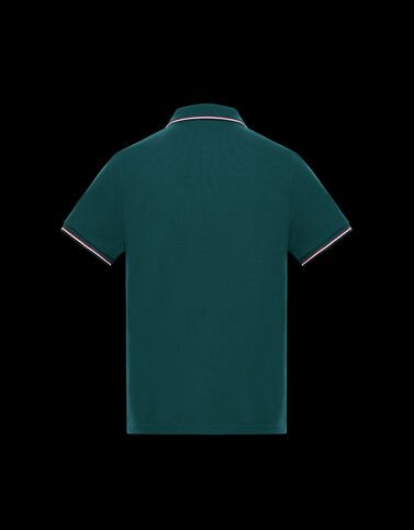 Moncler 삼색 디테일 클래식 폴로 셔츠 정글 그린