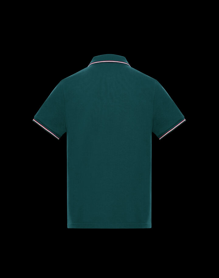 Moncler Polo with tricolor trim Jungle Green