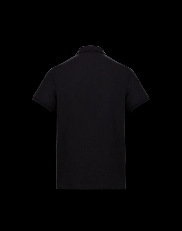 Moncler Short sleeve polo with ribbon Black