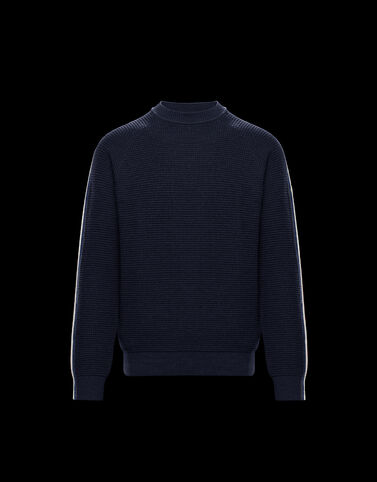 Moncler 소매 로고 크루넥 니트웨어 나이트 블루