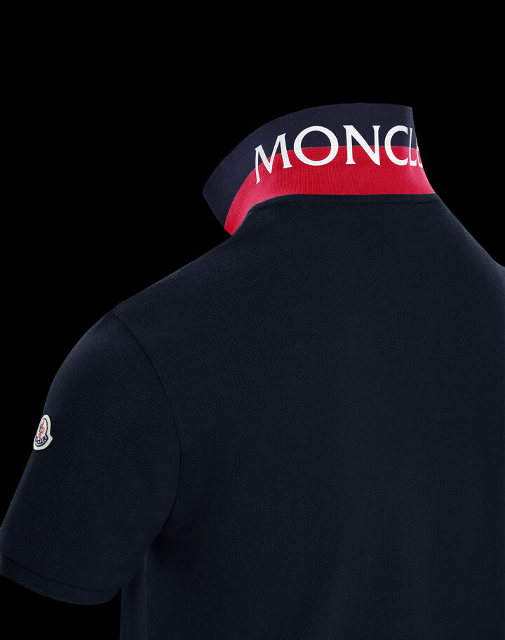 Moncler Polo with print Night Blue