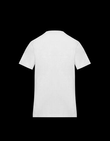 Moncler 대비 배색 Moncler 로고 티셔츠 오프 화이트