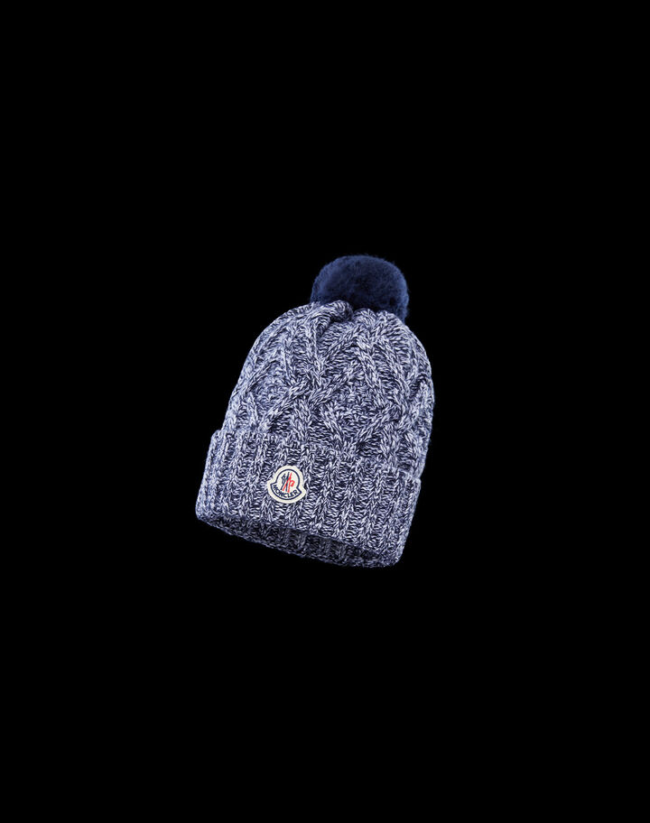Moncler Beanie with braids and pompoms Night Blue