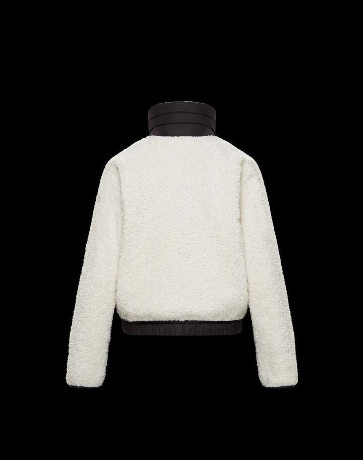 Moncler Faux fur and nylon cardigan Silk White