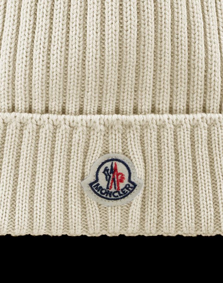Moncler English Rib-knit beanie Silk White