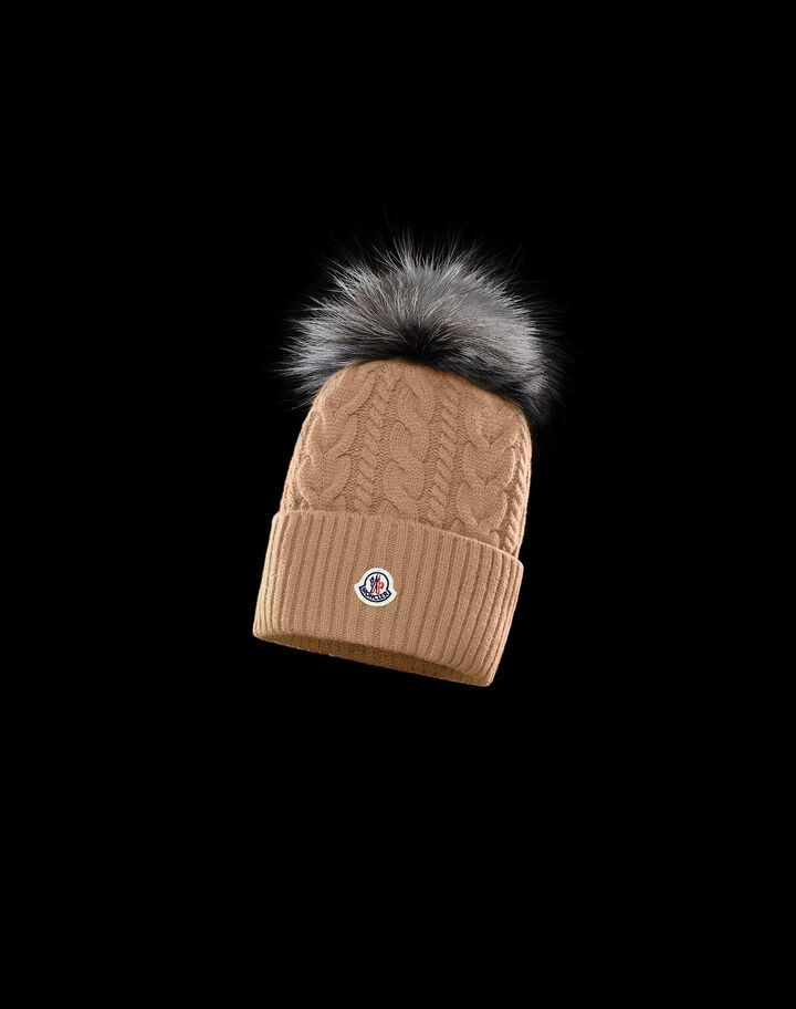 Moncler Cable-knit beanie Natural Camel Beige