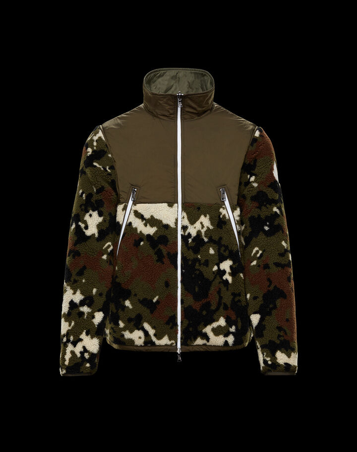 Moncler Camouflage teddy hoodie Army Green