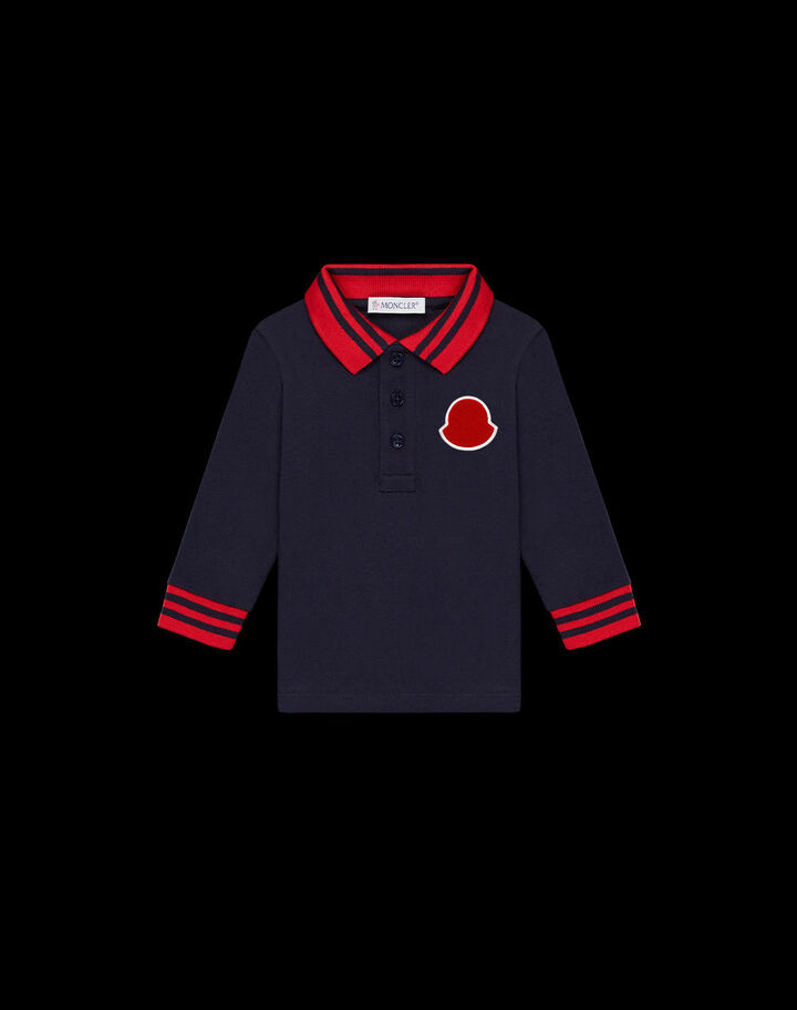 Moncler Long sleeve polo with logo Night Blue