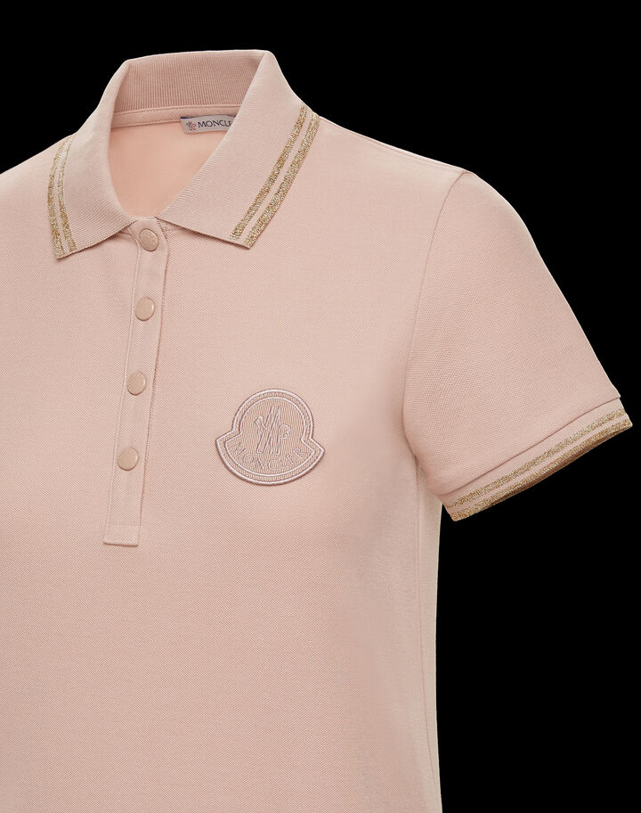 Moncler Polo with contrasting Moncler logo Blush Pink
