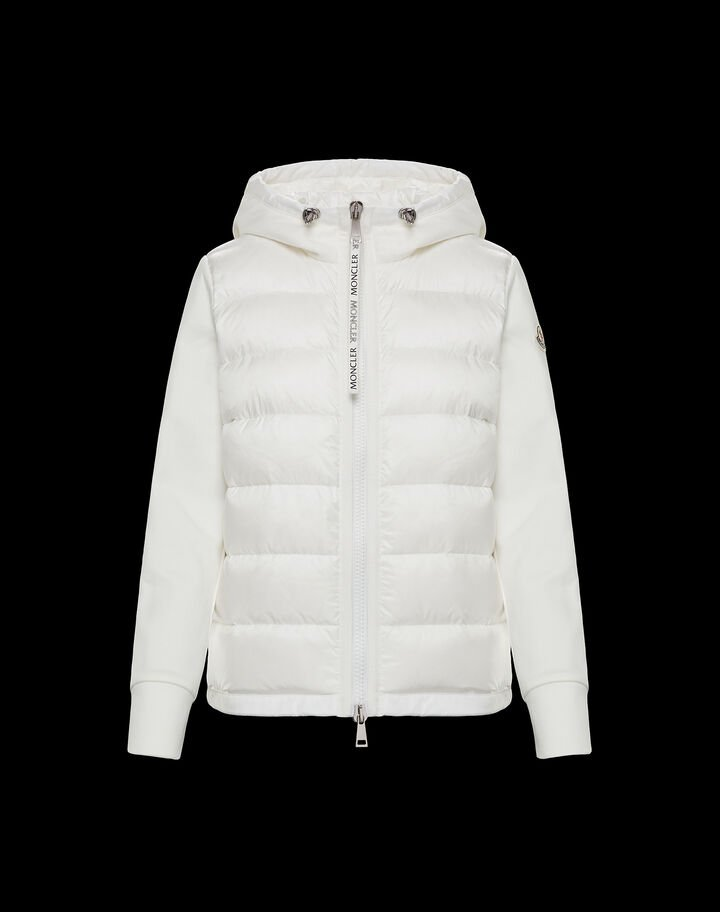 Moncler Cardigan with hood Off White