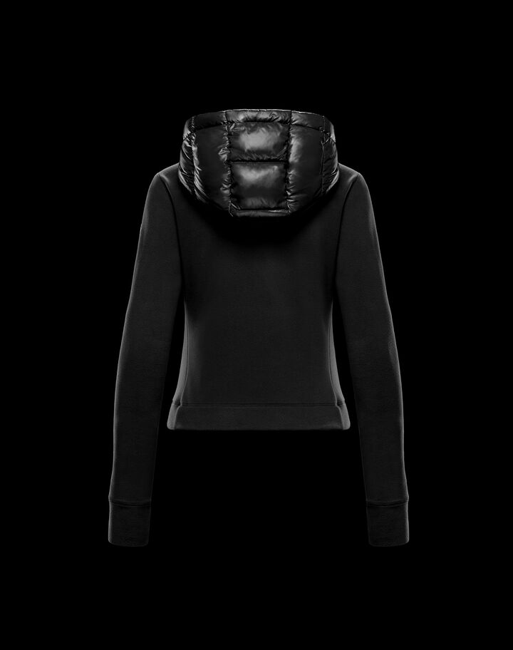 Moncler Fleece and nylon cardigan Black