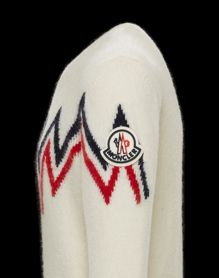 Moncler Sweater with inlaid pattern Off-White