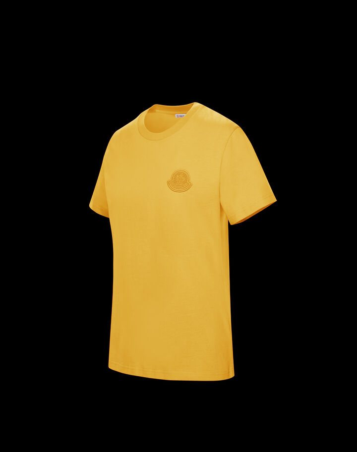 Moncler T-shirt with Moncler logo in contrast Mustard Yellow
