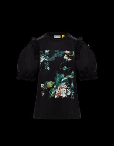 Moncler 플라워 프린트 티셔츠 블랙