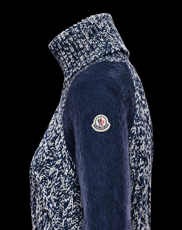 Moncler Braided knit turtleneck Night Blue
