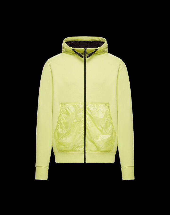 Moncler Mesh insert sweatshirt Lime Yellow