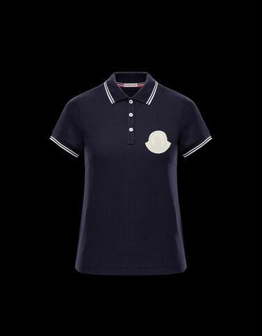 Moncler 대비 배색 Moncler 로고 폴로 셔츠 나이트 블루