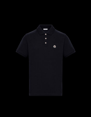 Moncler 삼색 버튼 폴로 셔츠 나이트 블루